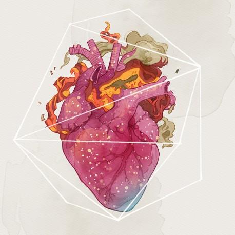 """Heart on fire"" - 30x30cm"